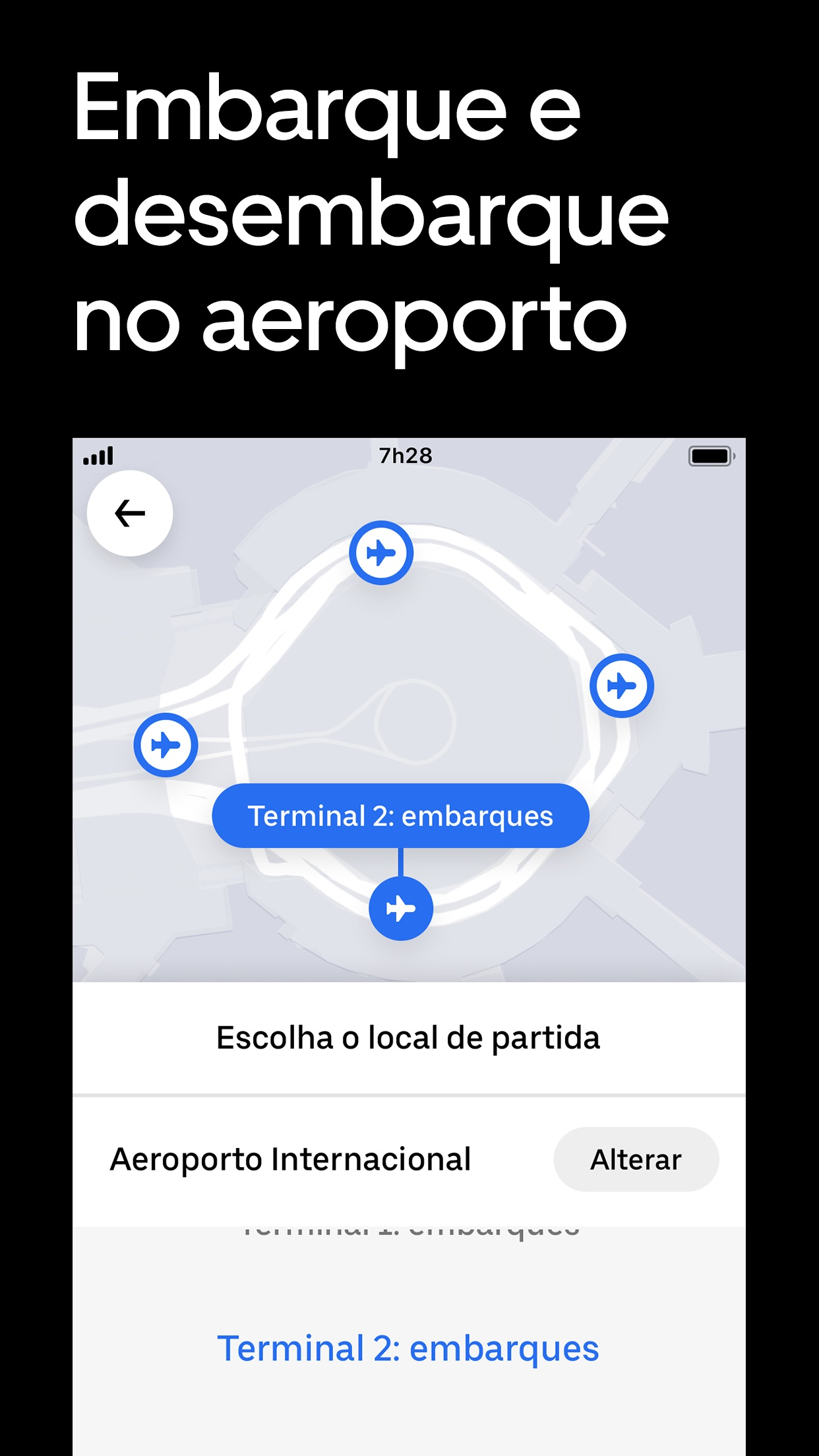 Screenshot do app Uber