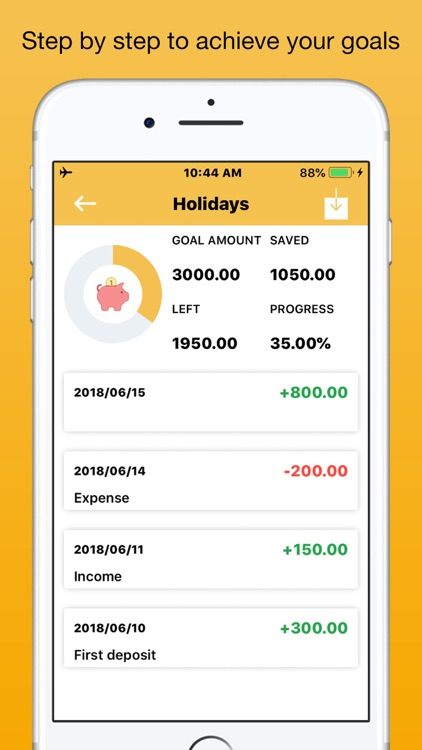 Savings Goals + Save money app