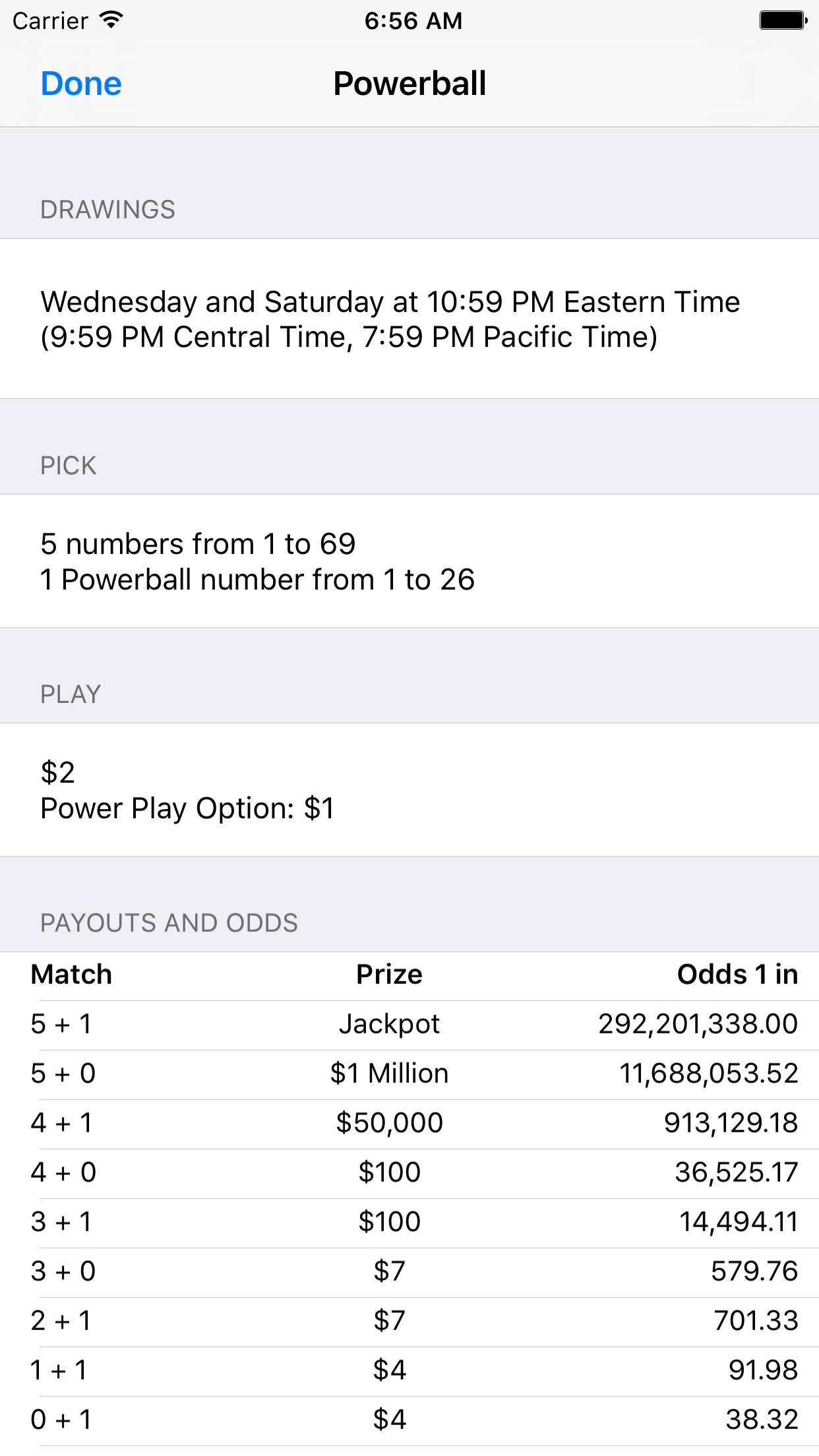 Mega Millions + Powerball Screenshot
