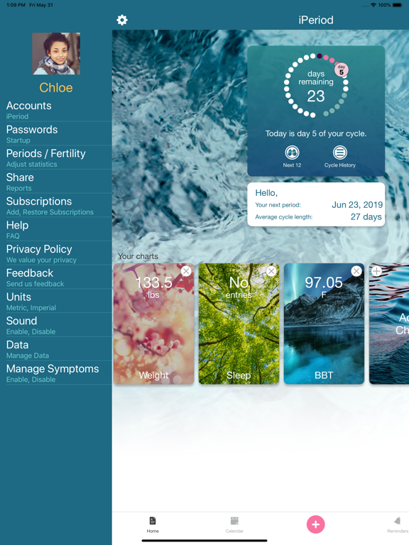 iPeriod Lite HD screenshot one