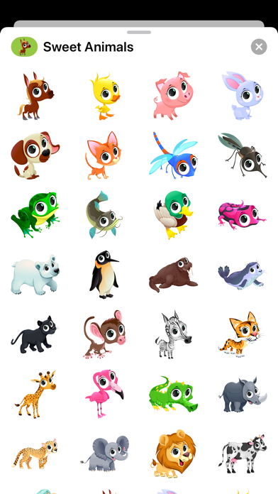 Sweet Animal Cartoon Stickers Screenshot