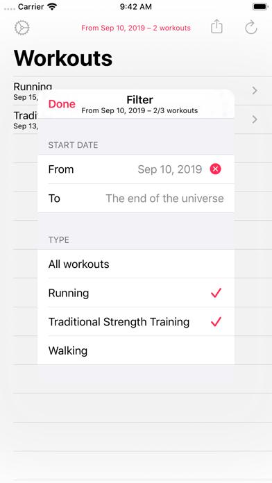 Workout - CSV Exporter screenshot three