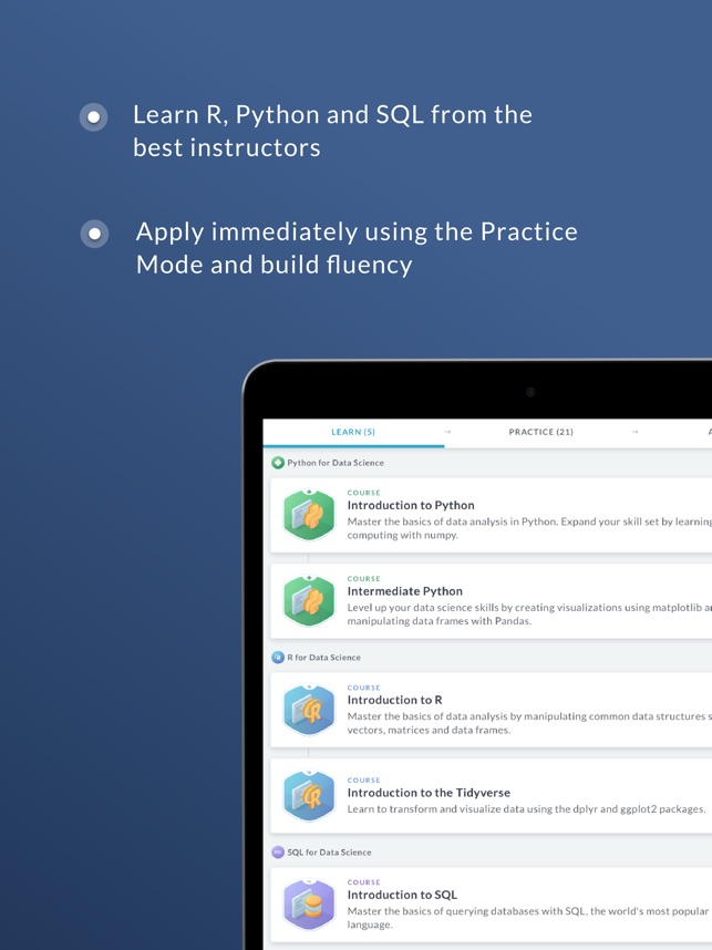 DataCamp: Learn R, Python, SQL on the App Store
