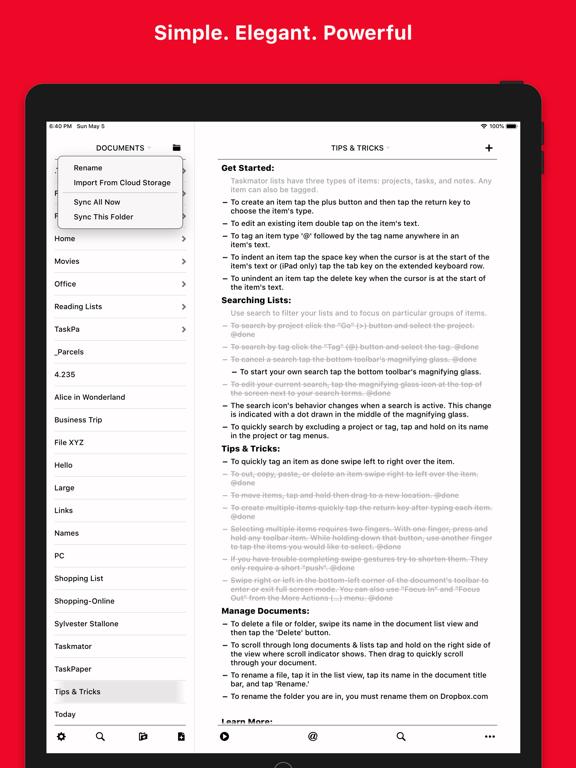Screenshot #4 pour Taskmator - TaskPaper Client