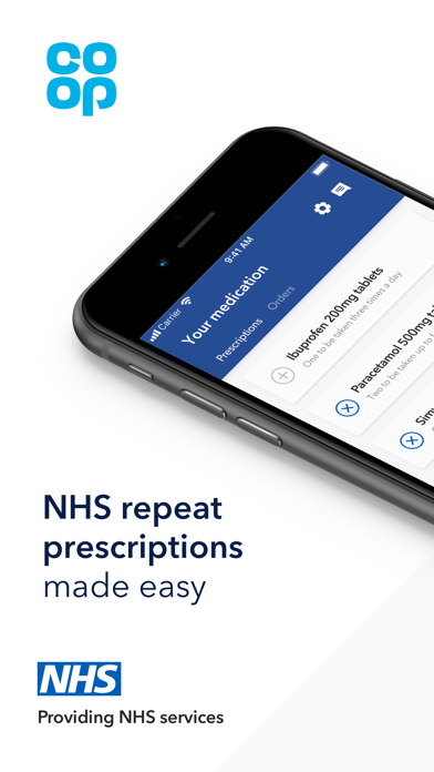 Co-op NHS Repeat Prescriptions screenshot one