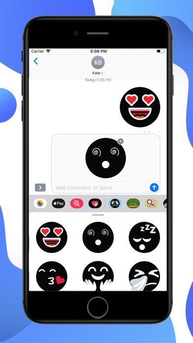 Black Funny Emoji Stickers screenshot 2