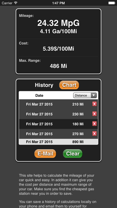Mileage screenshot two