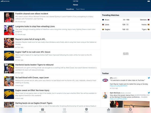Footy Live for iPad: AFL stats on the App Store
