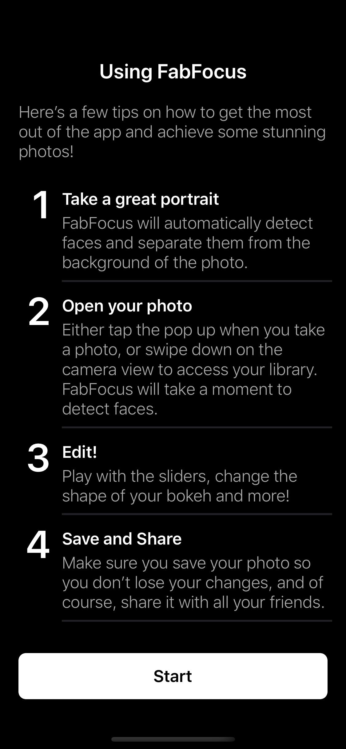 Screenshot do app FabFocus - Portrait Mode Blur