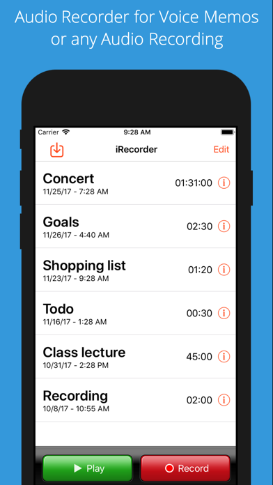 iRecorder Pro Audio Recorder screenshot one