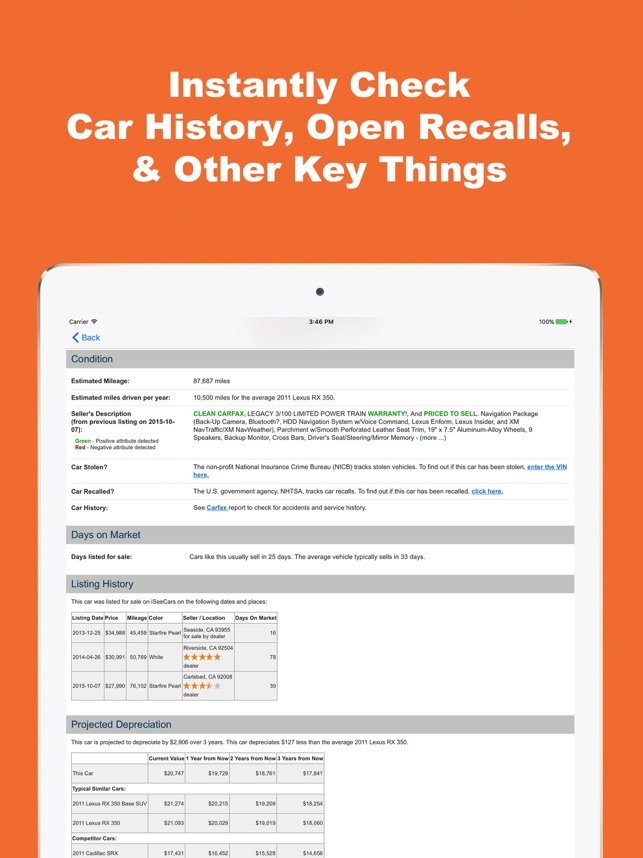 VIN Report for Used Cars on the App Store