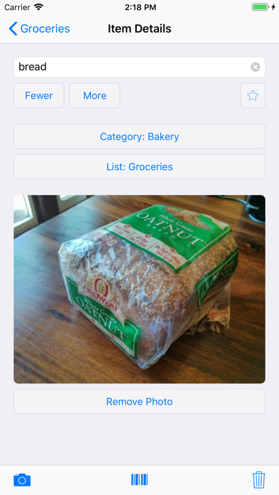Our Groceries Shopping List Screenshot