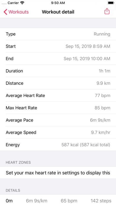 Workout - CSV Exporter screenshot two