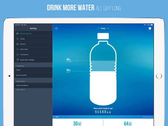 Waterlogged - Drink More Water, Daily Water Intake Tracker and Hydration Reminders screenshot