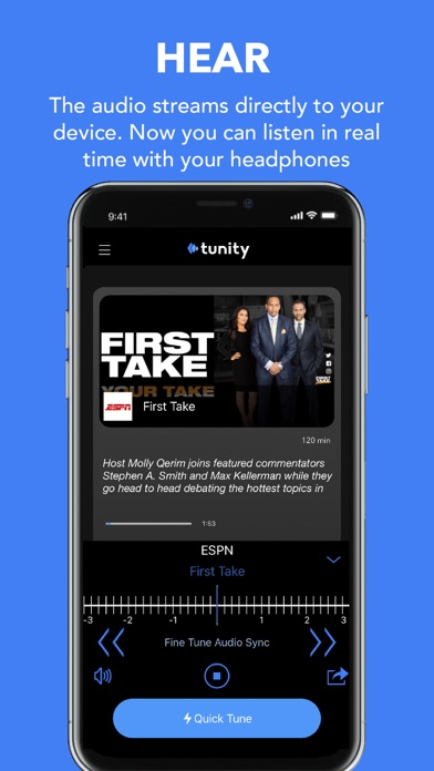 Tunity: Hear any muted TV - for your iPhone screenshot