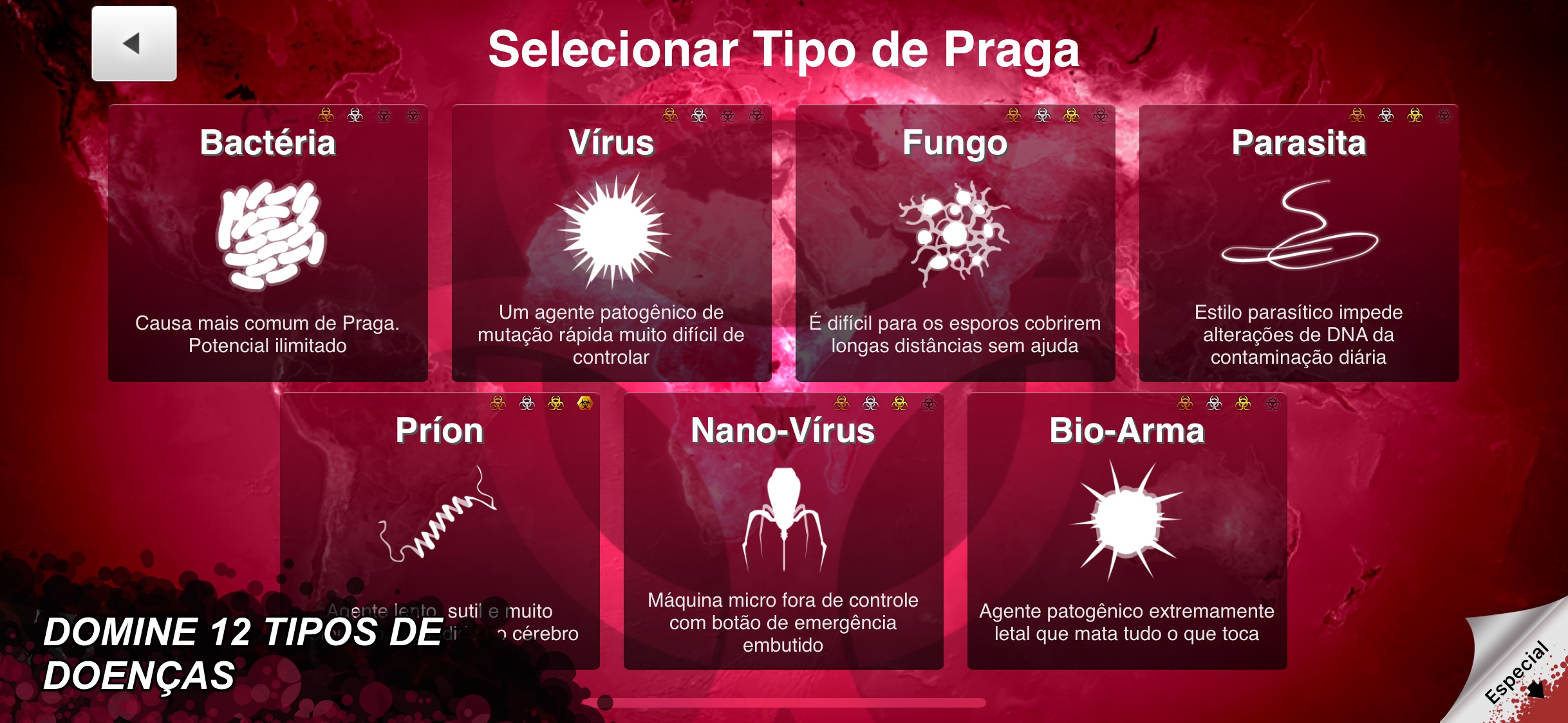 Screenshot do app Plague Inc.