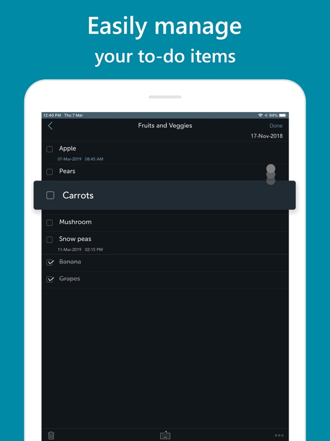 Orderly - Simple to-do lists Screenshot