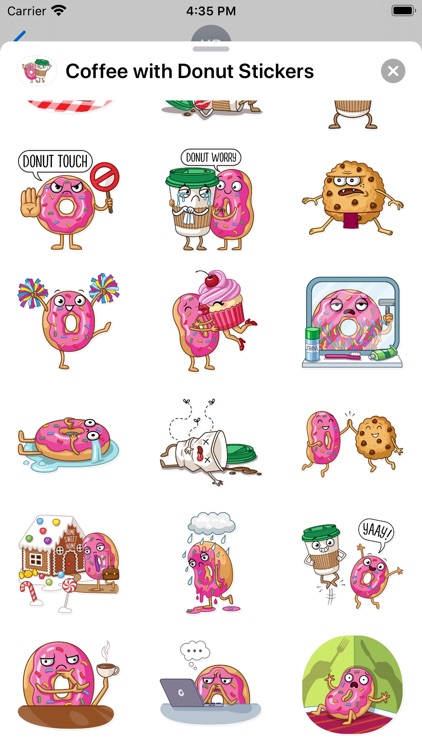 Coffee with Donut Stickers