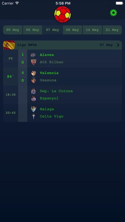 Live Results for Spanish Liga