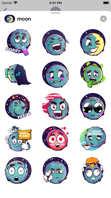 Moon stickers for iMessage screenshot 1