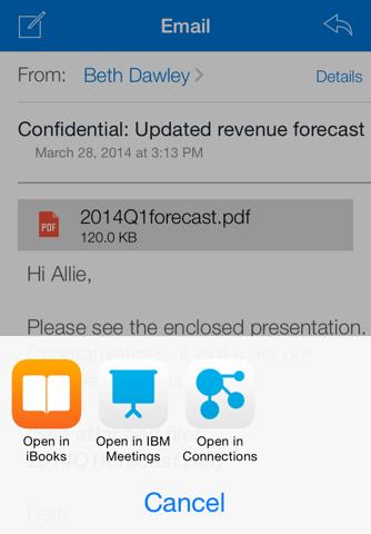 Скриншот из IBM Traveler Companion