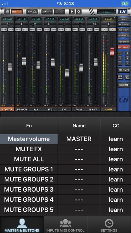 Ui MIDI mixer