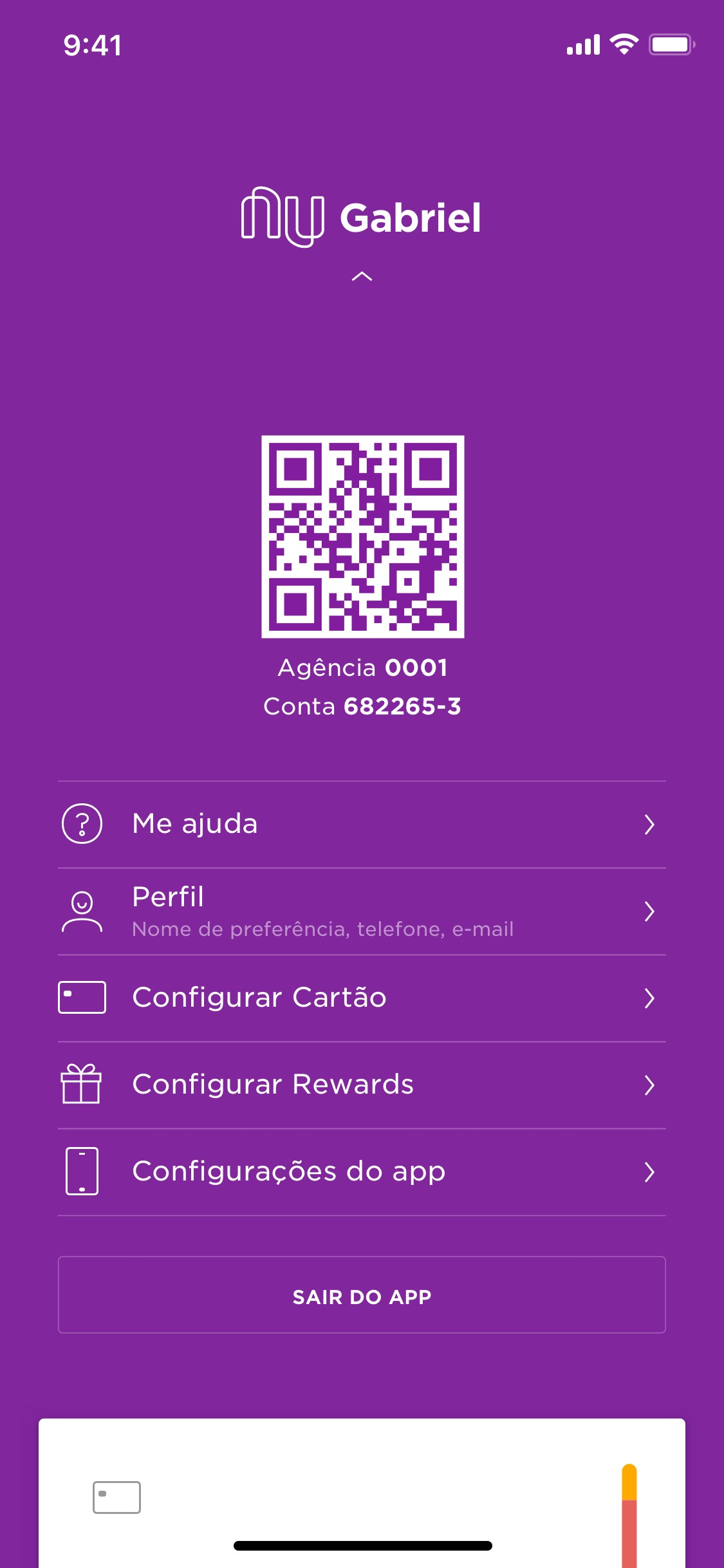 Screenshot do app Nubank