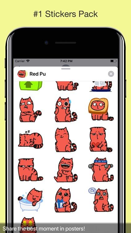 Red Pu The Amazing Cat Sticker screenshot-3