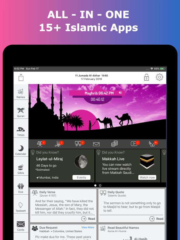 Islamic Calendar - التقويم الهجري - Muslim Hijri Calendar : with Al Quran Verse and Hadith Reminders, Find Ramadan Month & Hajj Days, Moon Phases, Lunar Calendar ( Islam ) screenshot
