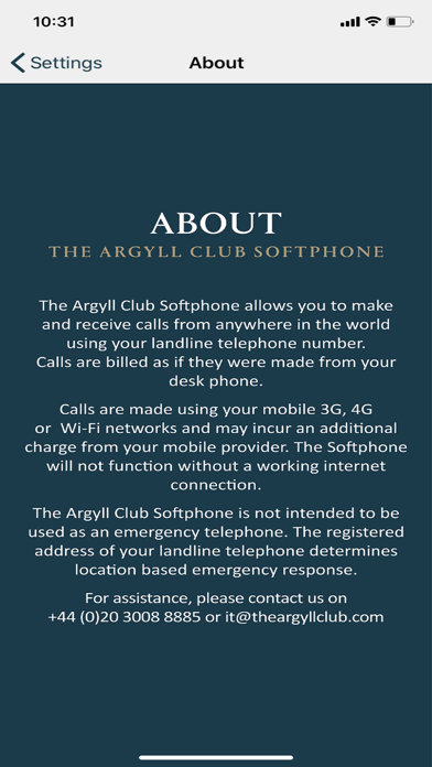 The Argyll Club Softphone screenshot four