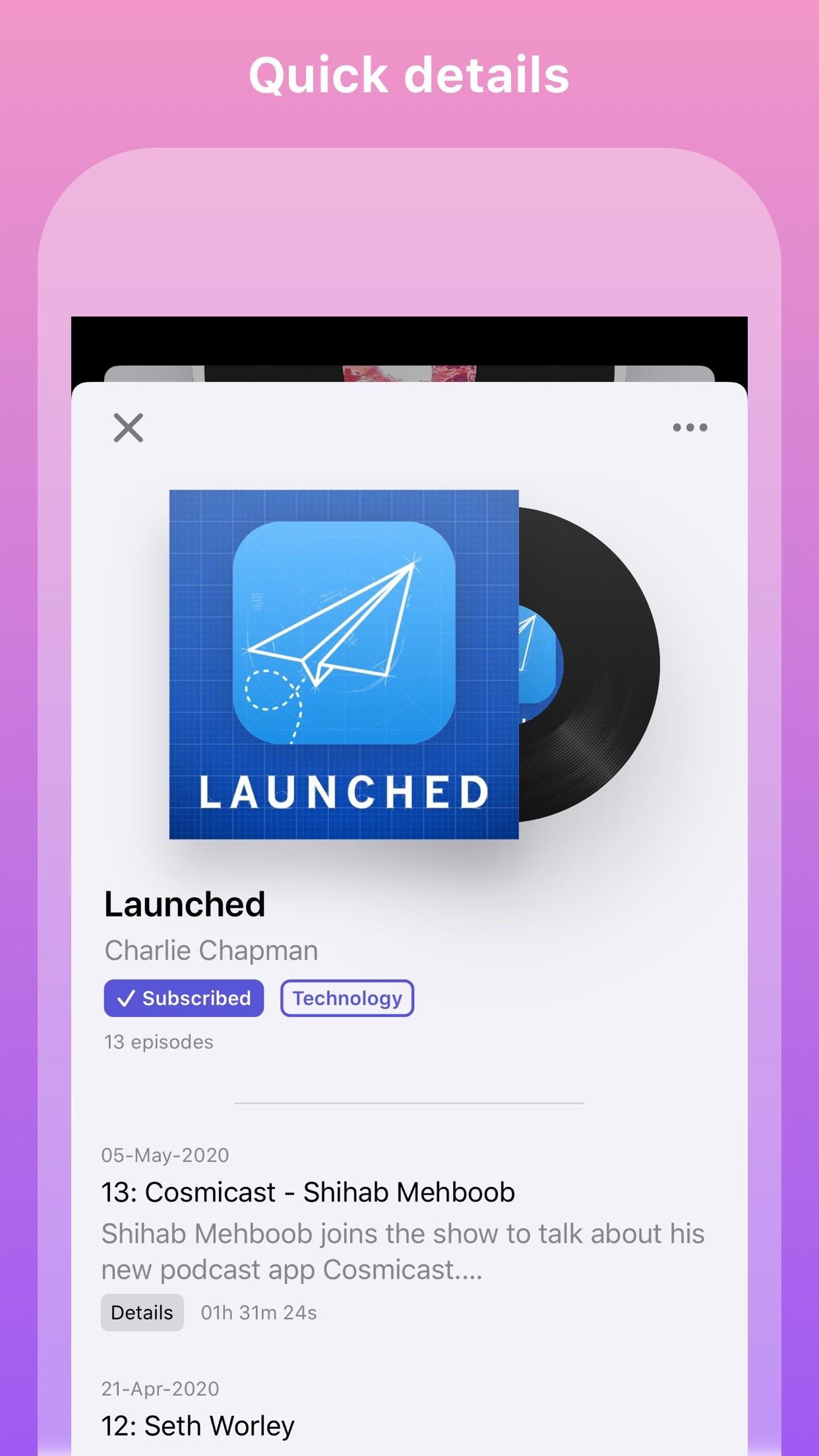 Screenshot do app Cosmicast