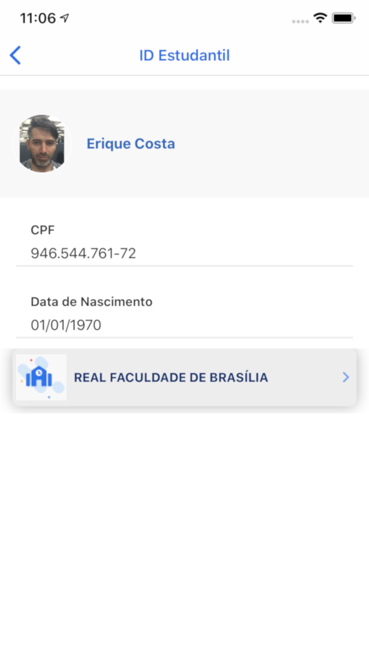 Screenshot do app ID Estudantil