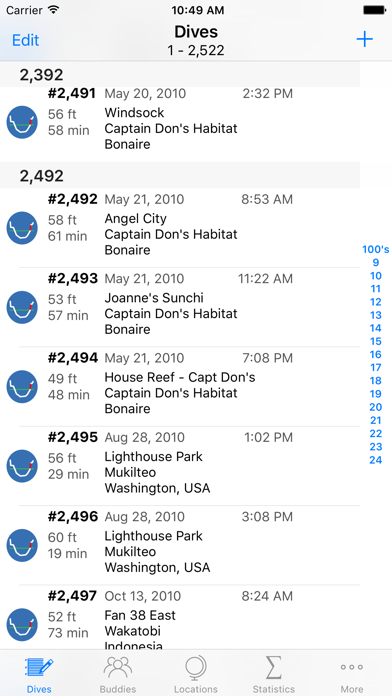 Dive Log review screenshots
