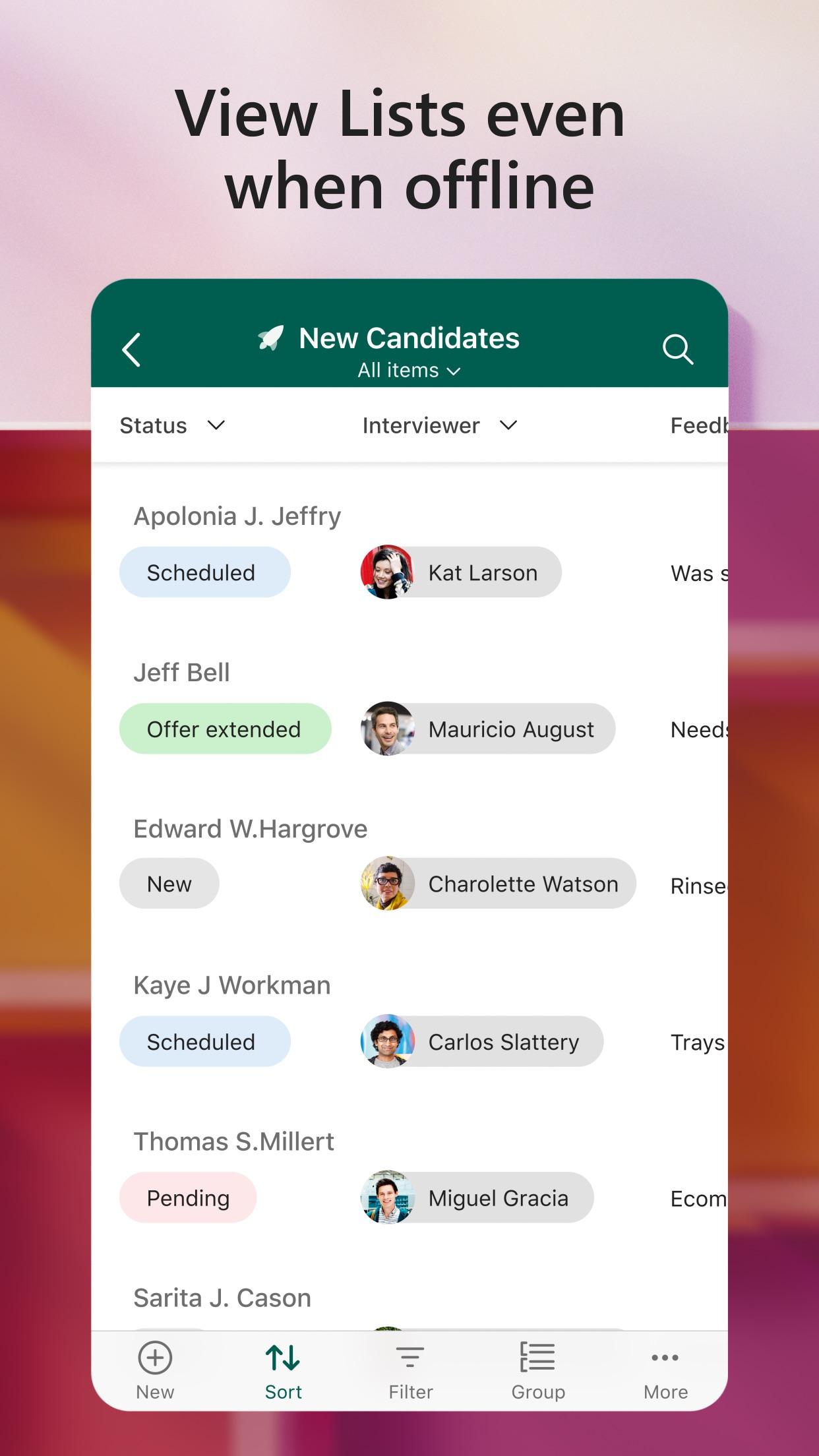 Screenshot do app Microsoft Lists