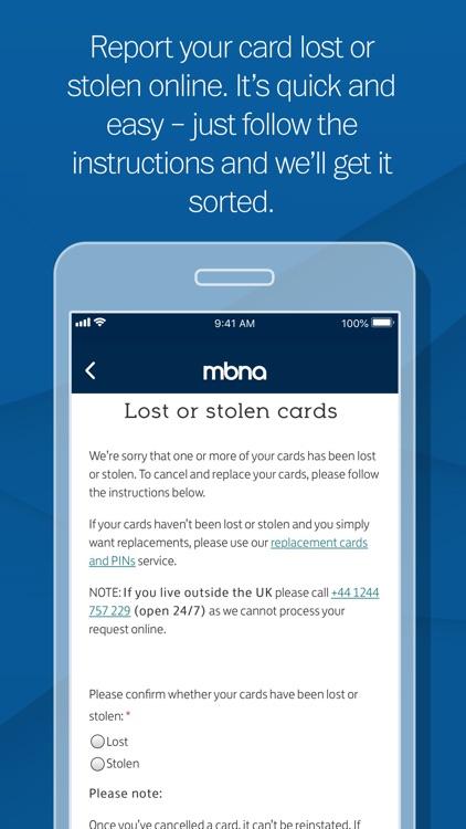 MBNA Card Services app screenshot-4