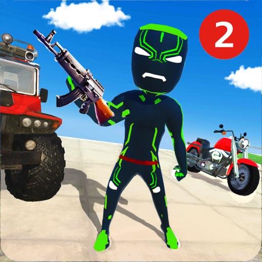 Neon Iron Stickman Superhero 2