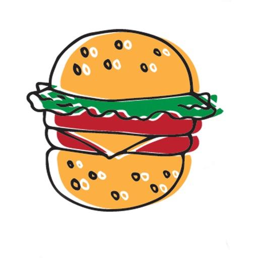 Hand drawn food stickers emoji