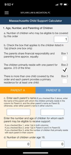 MA Child Support Calculator