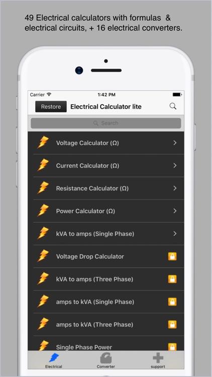 Electrical Calculator lite screenshot-0