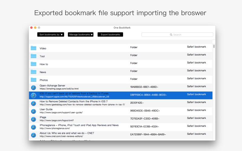 One Bookmark for Mac