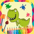Dinosaurs paint coloring book icon