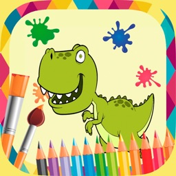 Dinosaurs paint coloring book