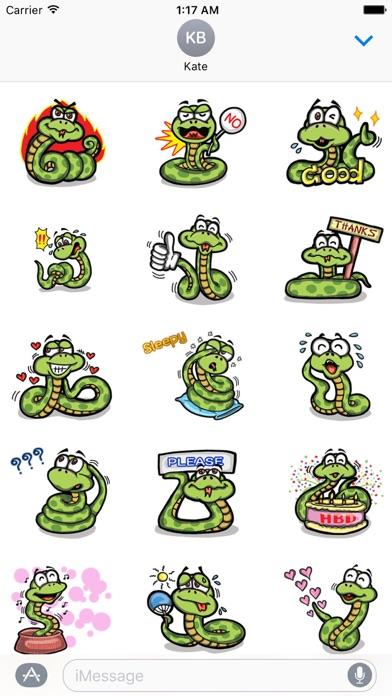 Cute Small Snake Emoji Sticker screenshot 2