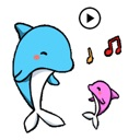 Animated Blue Dolphin Sticker