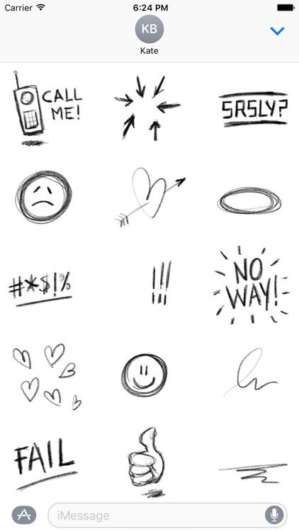 Pencil Doodles Sticker Pack screenshot-4