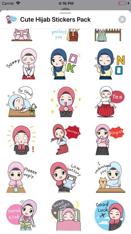 Cute Hijab Stickers Pack