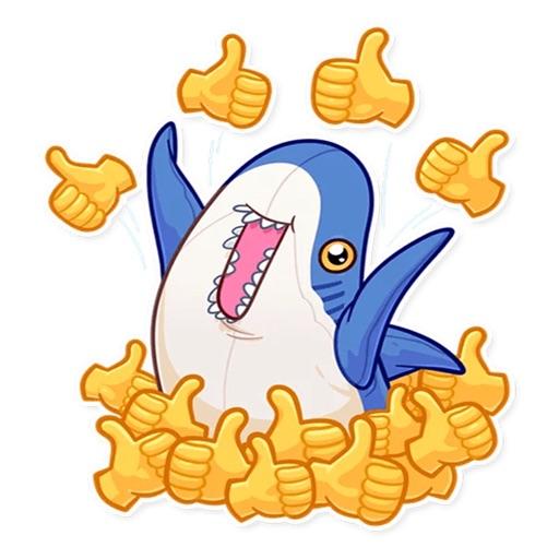 Cute Shark Emoji Funny Sticker