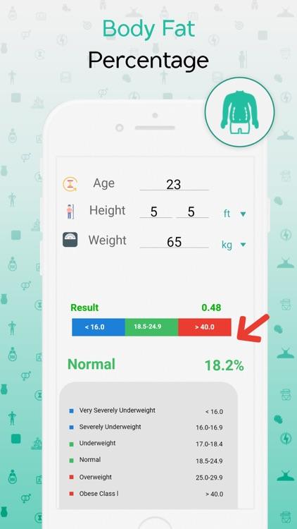 BMI, BMR & Body Fat Calculator