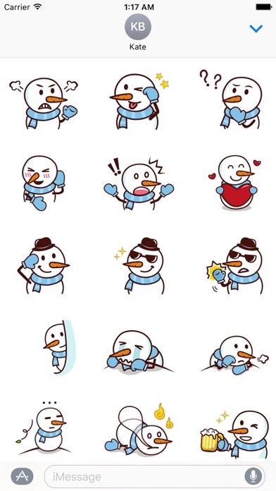 Cute Snowman In Winter Sticker screenshot 2