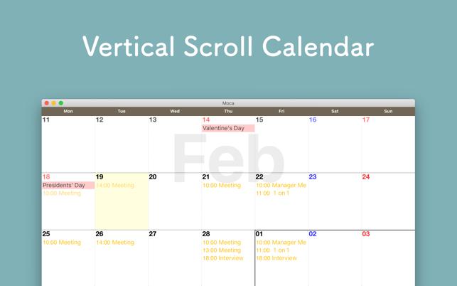 Moca Monthly Calendar On The Mac App Store